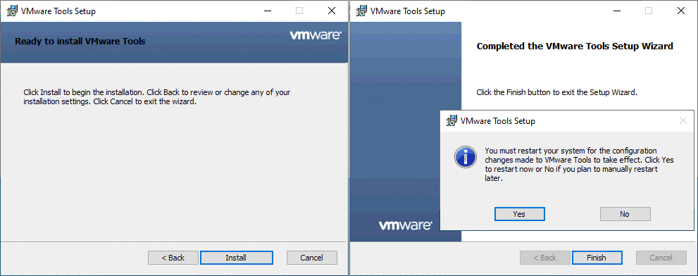 Finishing installation of VMware Tools
