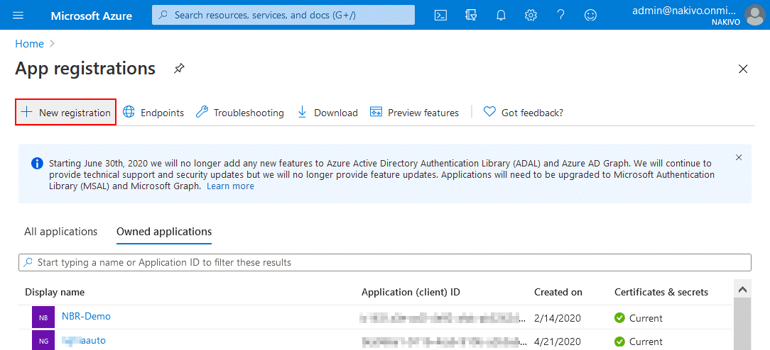 New registration of a backup application in the Microsoft Azure portal