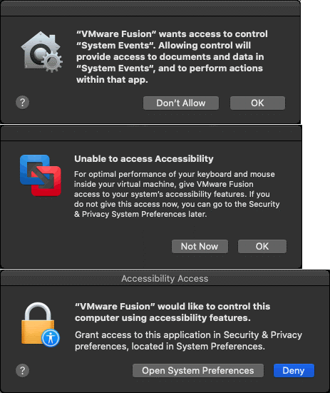 Notifications displayed when installing VMware Fusion and require configuring security settings