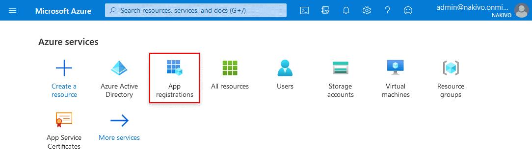 Opening app registrations in the Microsoft Azure portal