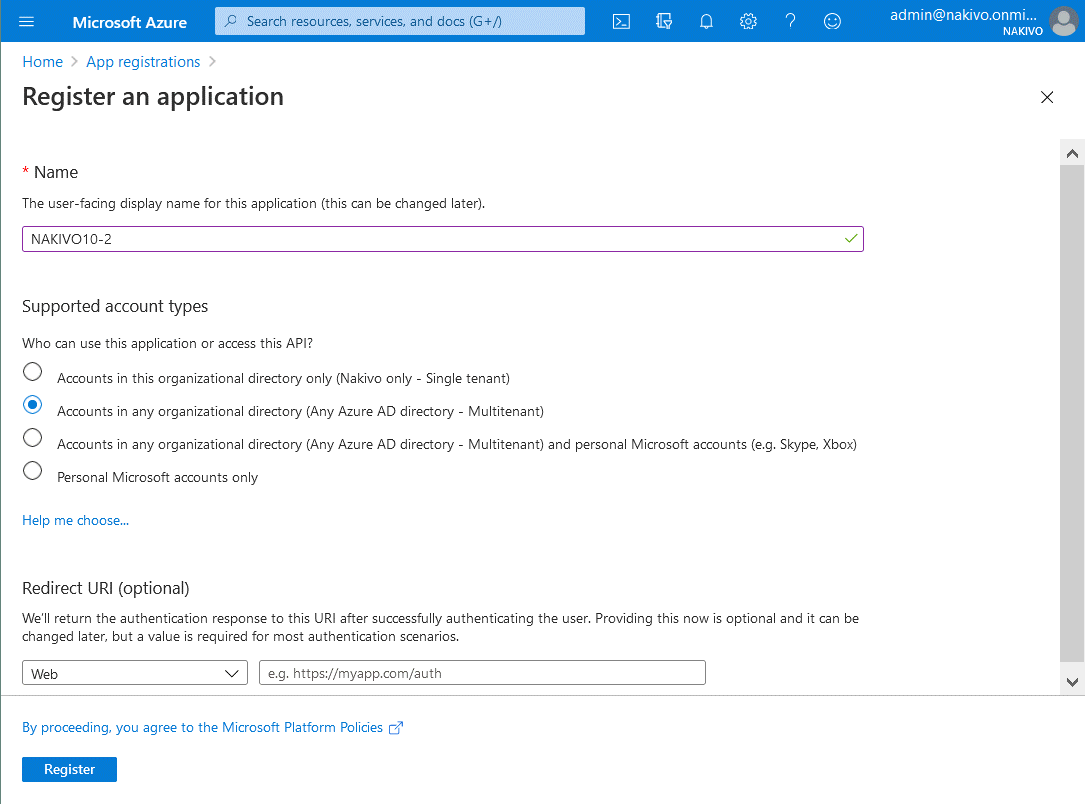 Registering an application in the Azure portal
