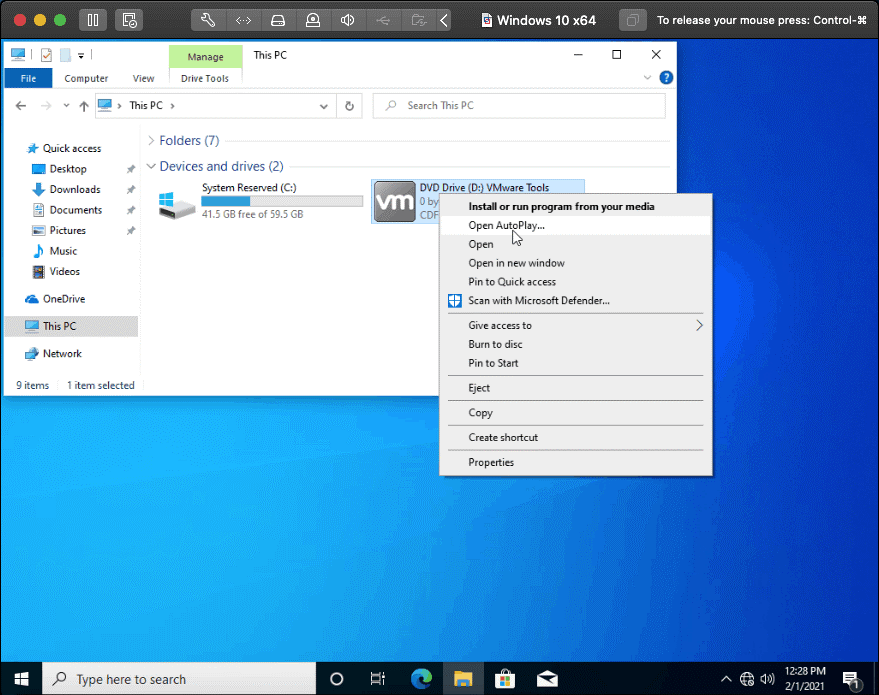 Running the installer of VMware Tools in Windows 10 – a VM guest OS
