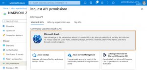 Selecting Microsoft Graph to set API permissions