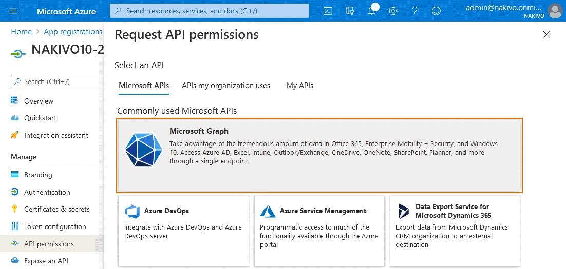 Selecting Microsoft Graph to set API permissions