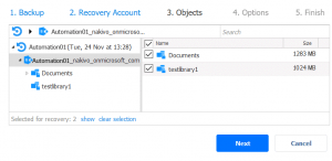 Selecting SharePoint Online objects to recover