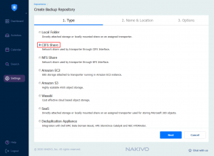 Selecting a CIFS share as storage for a new backup repository