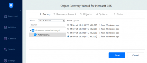 Selecting a recovery point and items from a SharePoint Online backup