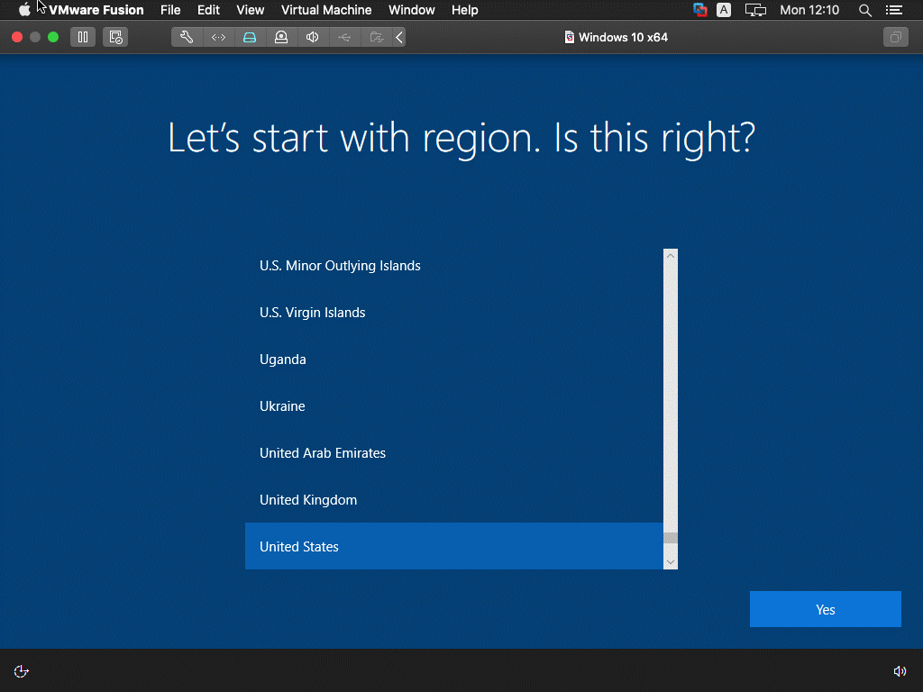 Selecting a region when installing Windows 10 as a VMware guest operating system