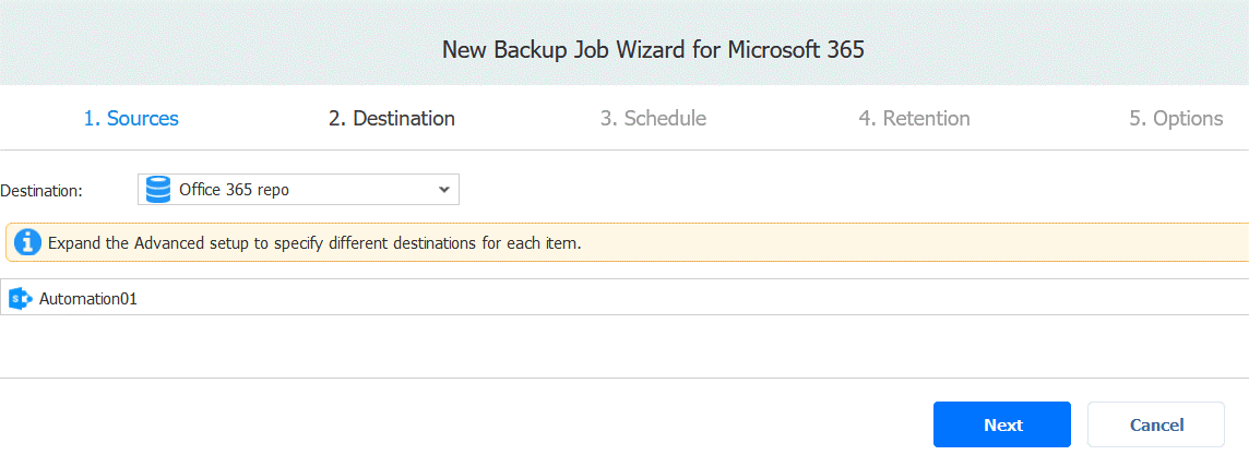 Selecting backup destination for a new SharePoint for business backup job
