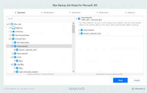 Selecting data that you want to back up (OneDrive for Business SharePoint)