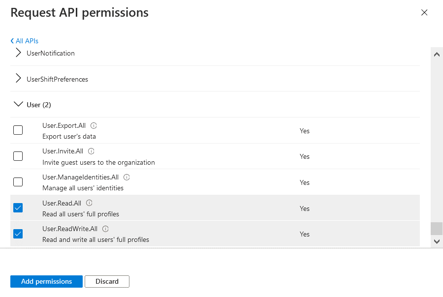 Selecting required API permissions to back up Exchange Online, SharePoint and OneDrive