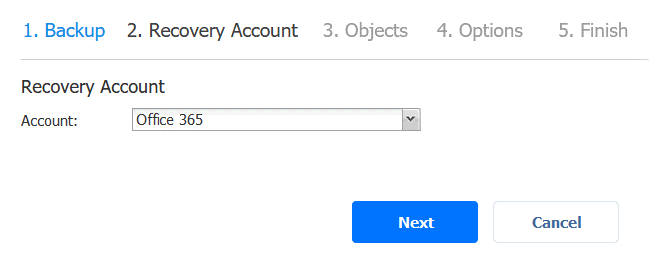 Selecting the Office 365 recovery account to restore SharePoint Online data