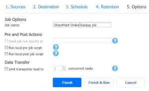SharePoint Online backup job options
