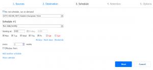 SharePoint Online backup job scheduling