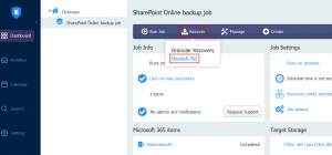Starting granular recovery for SharePoint Online by using NAKIVO Backup & Replication