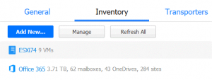 The Office 365 account is added to the inventory