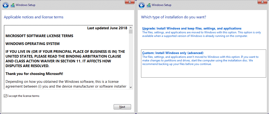 The license agreement of Windows 10 and installation type options