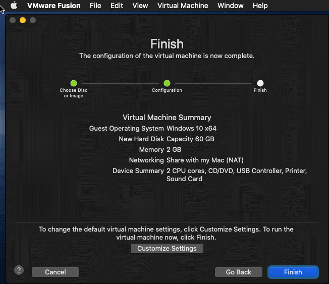 The virtual machine summary is displayed before finishing the new VM creation