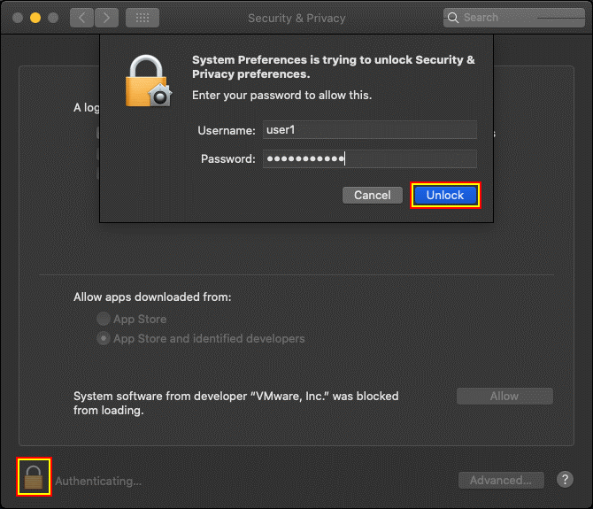 Unlocking security settings and entering user credentials in macOS