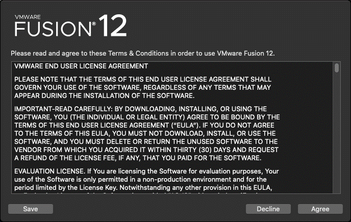 VMware Fusion license agreement