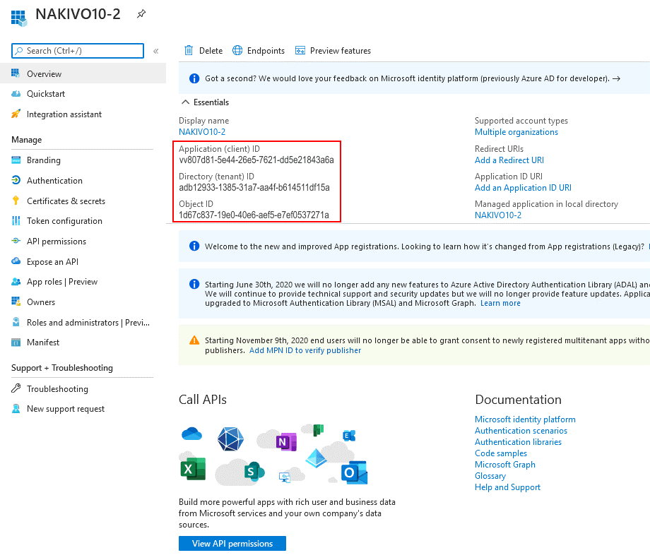Viewing credentials for a registered application in the Microsoft Azure portal