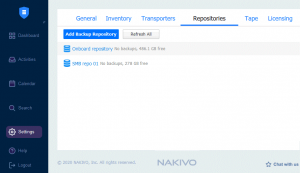 Viewing the list of backup repositories in NAKIVO Backup & Replication
