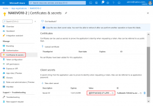 Viewing the secret value and ID for the backup application
