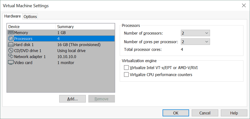 How the number of cores per CPU for vSphere VMs is displayed in VMware Workstation