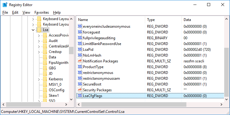 How to disable LSA in Windows Registry