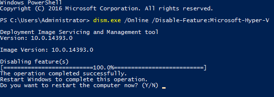 How to uninstall Hyper-V in the command line interface