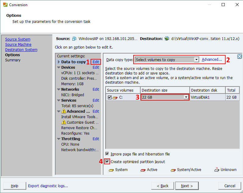 Changing disk partition size for a VM in VMware Converter