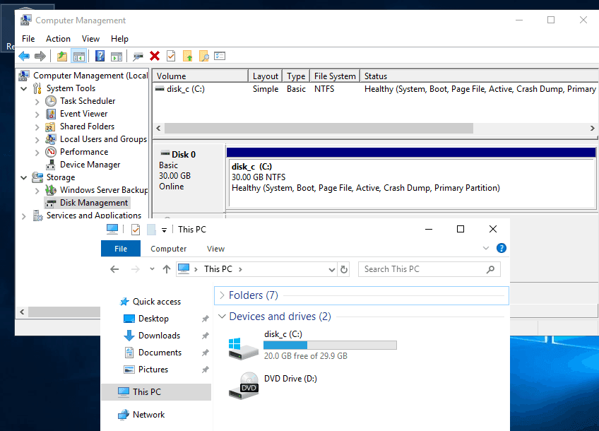 Changing disk partition size has completed successfully in Windows Disk Management