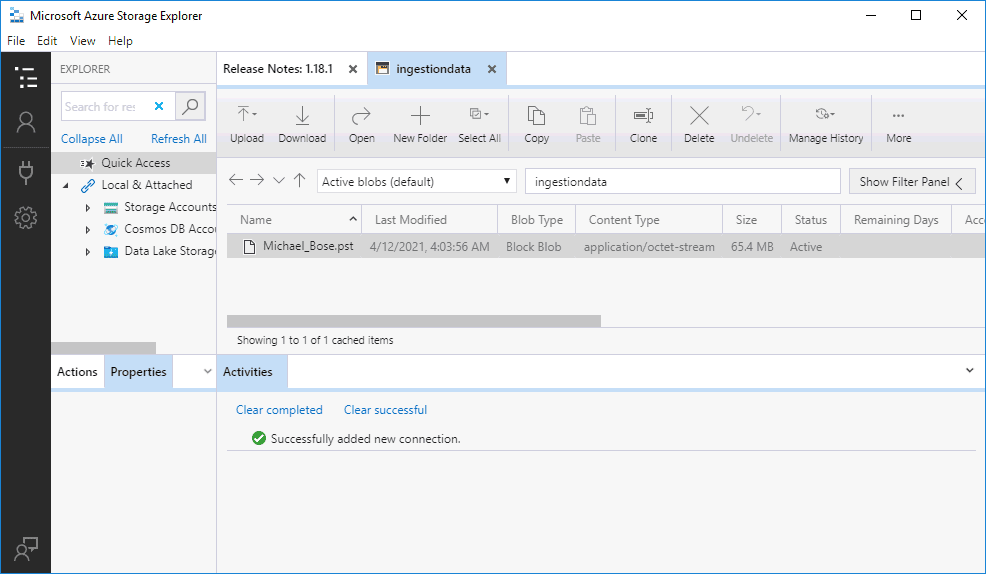Checking PST files after copying them to Azure before importing to Office 365 mailboxes