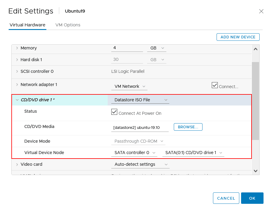 Configuring virtual DVD settings in VMware vSphere Client