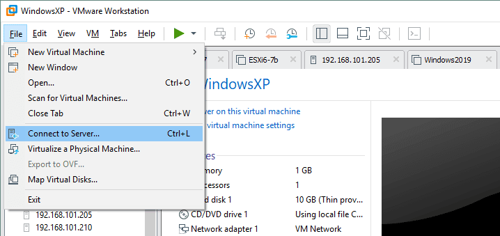 Connecting to an ESXi server in VMware Workstation