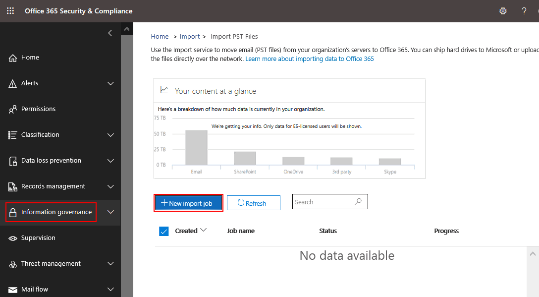 Creating a new import job to migrate PST to Office 365