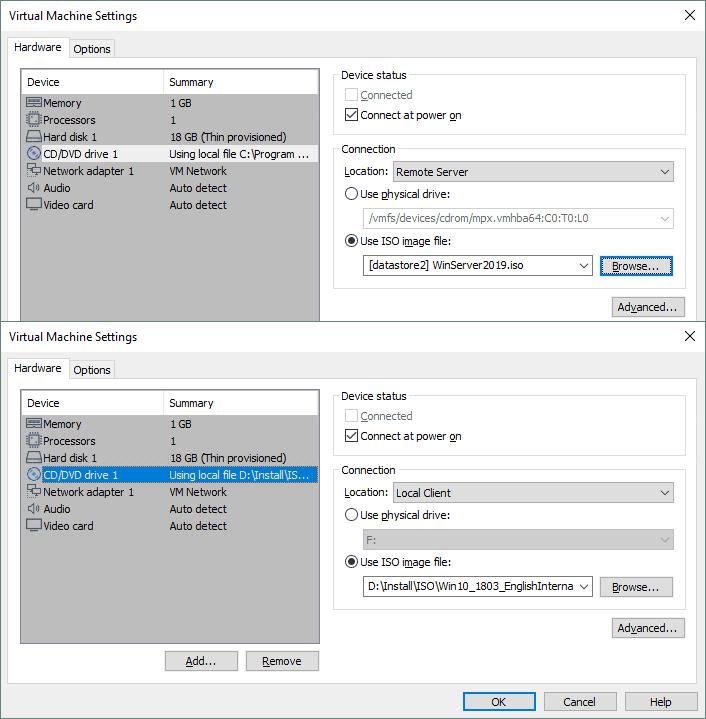 DVD drive configuration of a virtual machine