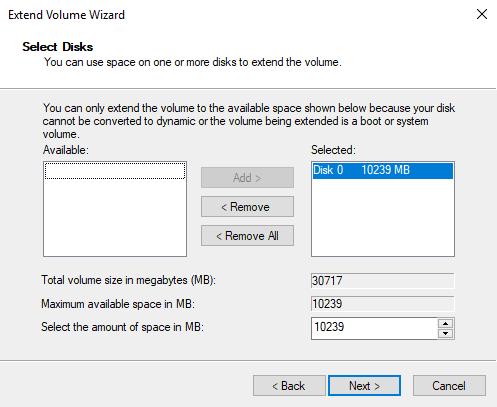 Disk Management extend volume in Windows Server 2019