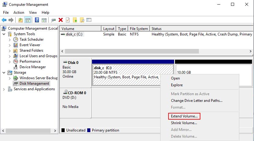 Disk Management extend volume