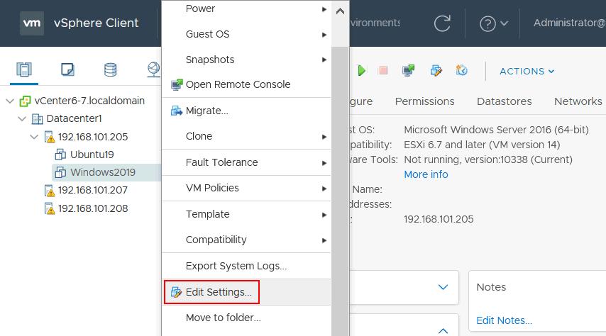 Editing VM settings in VMware vSphere Client