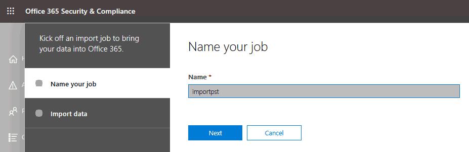 Entering a job name