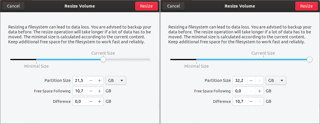 How to adjust disk partition size in Ubuntu