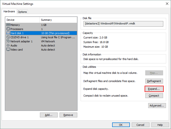 How to expand the virtual disk size of a VM in VMware Workstation