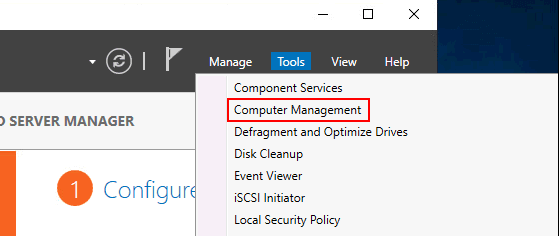 Opening Computer Management from Server Manager in Windows Server 2019
