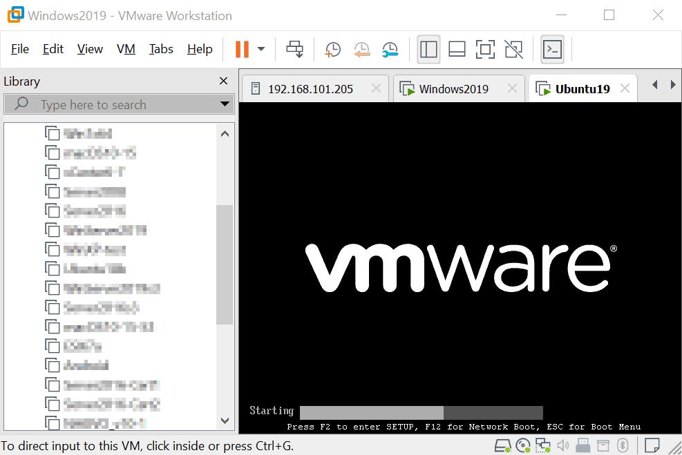 Press F2 to enter setup in a virtual machine