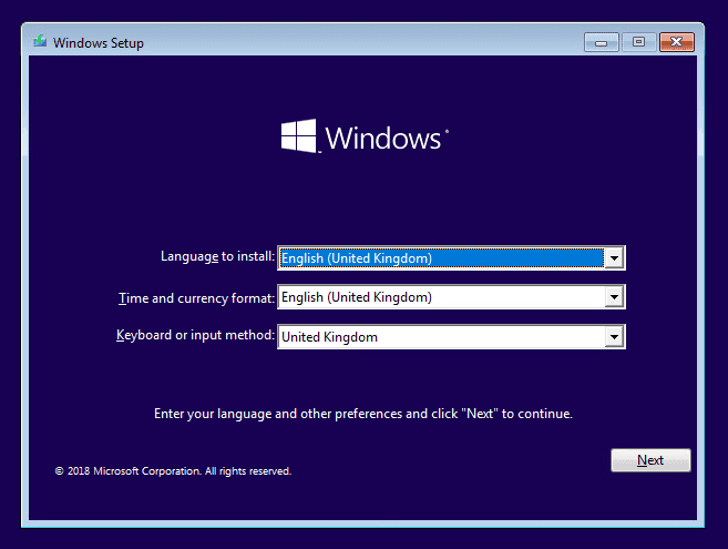 Press Shift+F10 at the stage of language setup to open CMD during Windows installation