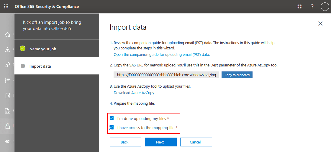 Resuming the process of importing PST files to Office 365 mailboxes