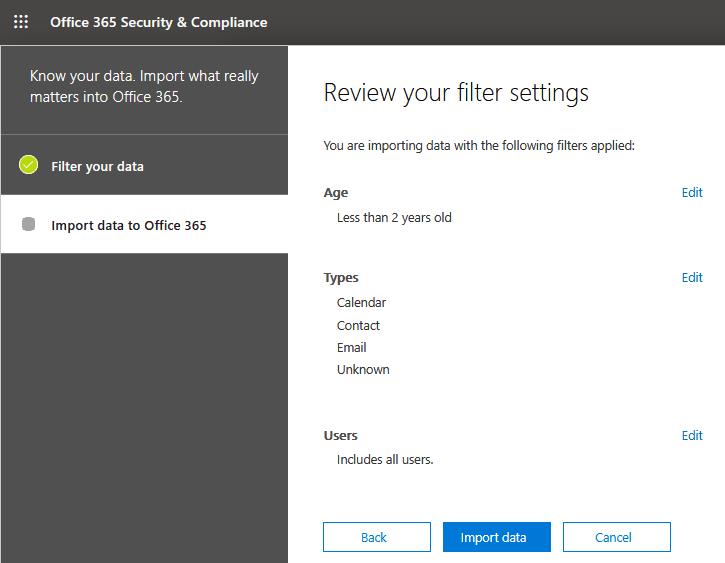 Reviewing filtering settings