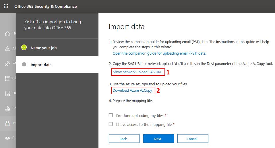Save the network upload SASL URL and download Azure AzCopy