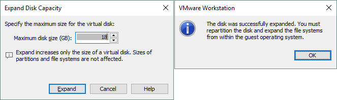 Setting the new virtual disk size in VMware Workstation
